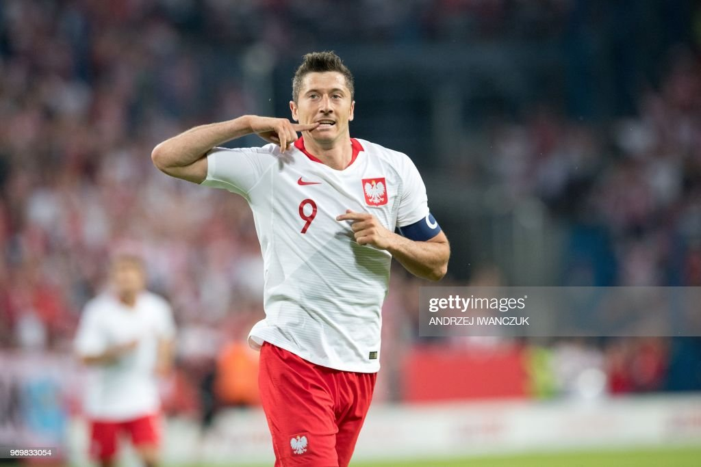 Poland's Robert Lewandowski reacts during the international friendly football match between Poland and Chile at the Arena Poznan stadium in Poznan, Poland, on June 8, 2018.