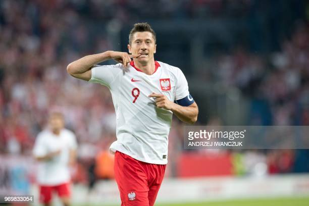 Poland's Robert Lewandowski reacts during the international friendly football match between Poland and Chile at the Arena Poznan stadium in Poznan...