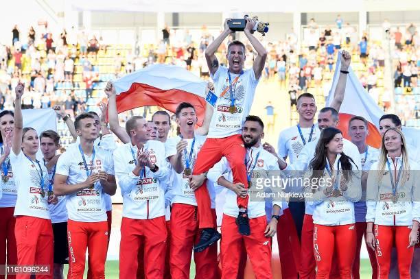 Poland's team celebrate victory in European Athletics Team Championships Super League Bydgoszcz 2019 - Day Three at Zawisza Stadium on August 11,...