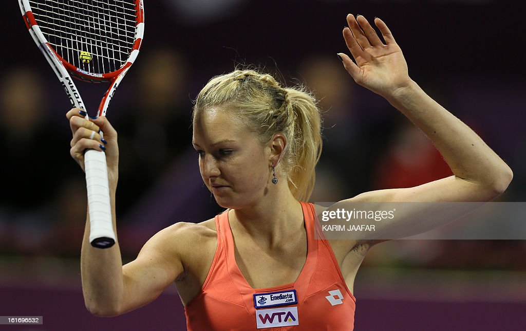 Poland's Urszula Radwanska gestures during her WTA Qatar Open tennis match against Serena Williams of the US on February 14, 2013 in the Qatari capital, Doha. Williams won the match 6-0, 6-3.