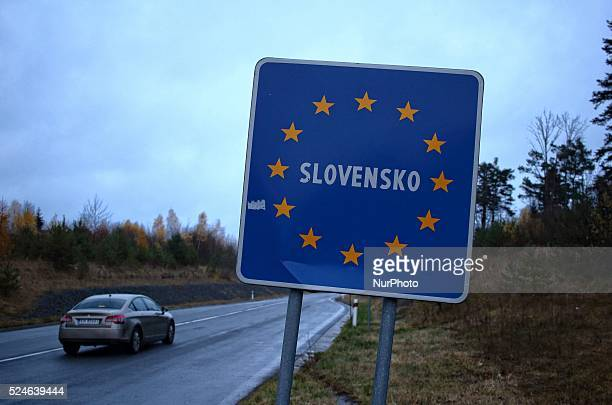 Poland/Slovakia, Muszynka 11th, Nov. 2015 Border between Poland and Slovakia near Polish village of Muszynka. Road signs display speed limits in both...