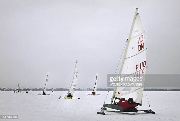 'Polandsportsextremesail' DN class type Iceboats sail on a frozen lake Sniardwy Polands largest lake in northern Poland on January 31 2009 It's the...