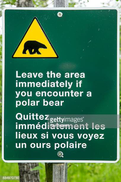 polar bear warning sign, york factory, manitoba, canada - hudson bay stock photos and pictures