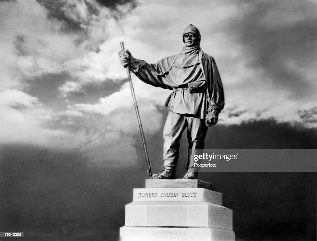Polar Exploration, A statute on the Victoria Embankment, London of Robert Falcon Scott, (1868-1912) English explorer who commanded 2 Antarctic explorations, On 18th January 1912 Captain Scott reached the South Pole, shortly after Amundsen, but on the return journey he died in a blizzard