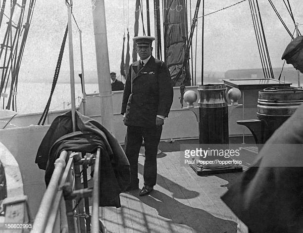 Polar explorer Ernest Shackleton on board the 'Endurance' in London before leaving for the Antarctic on the Imperial TransAntarctic Expedition 1914–17