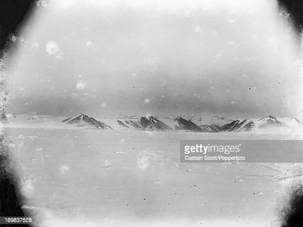 A polar landscape near Cape Evans photographed during the last tragic voyage to Antarctica by Captain Robert Falcon Scott circa November 1911 Scott...