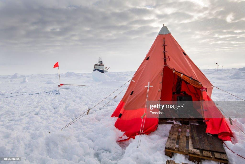 Polar research ice camp : Stock Photo