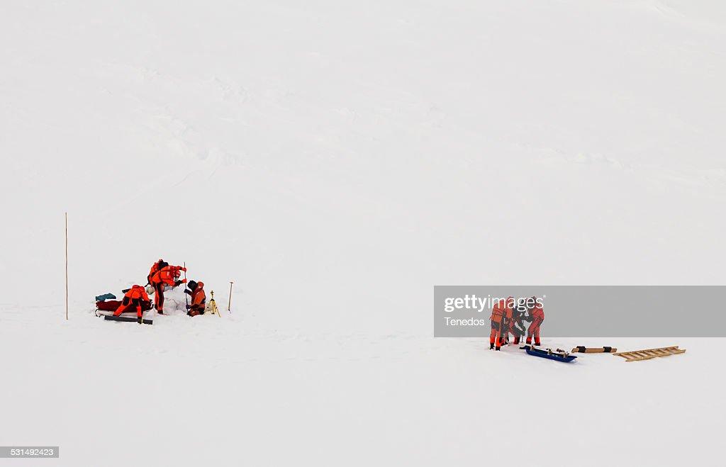Polar scientist on ice floe : Stock Photo