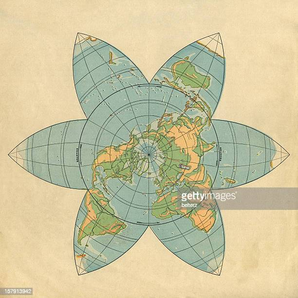 polar view map - vintage world map stock photos and pictures