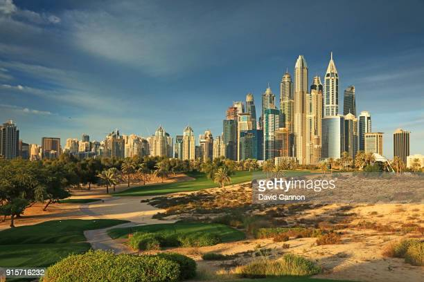 Polarising filter and graduated neutral density filter used on camera in this image The par 4 eighth hole in the early morning light with the Dubai...