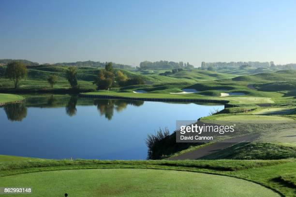 Polarising filter on the camera used in this image The 209 yards par 3 second hole on the Albatross Course at Le Golf National the host venue for the...