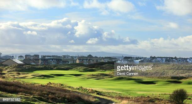Polarising filter used in this image: A view of the 465 yards par 4, 18th hole on the Dunluce Course at Royal Portrush Golf Club the host club for...
