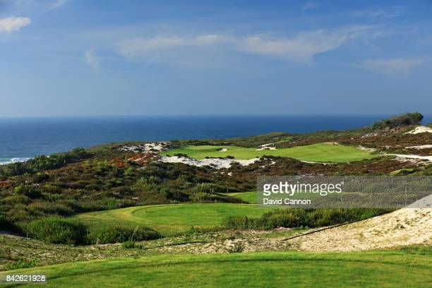 polarising filter used in this image The 338 metres par 4 10th hole on the West Cliffs Golf Links Course on Portugal's Silver Coast designed by...