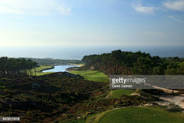 polarising filter used in this image The 409 metres par 4 18th hole on the West Cliffs Golf Links Course on Portugal's Silver Coast designed by...