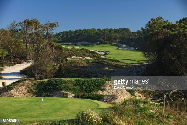 polarising filter used in this image The 480 metres par 5 13th hole on the West Cliffs Golf Links Course on Portugal's Silver Coast designed by...