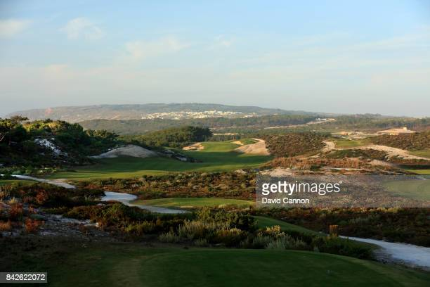 polarising filter used in this image The 537 metres par 5 seventh hole on the West Cliffs Golf Links Course on Portugal's Silver Coast designed by...