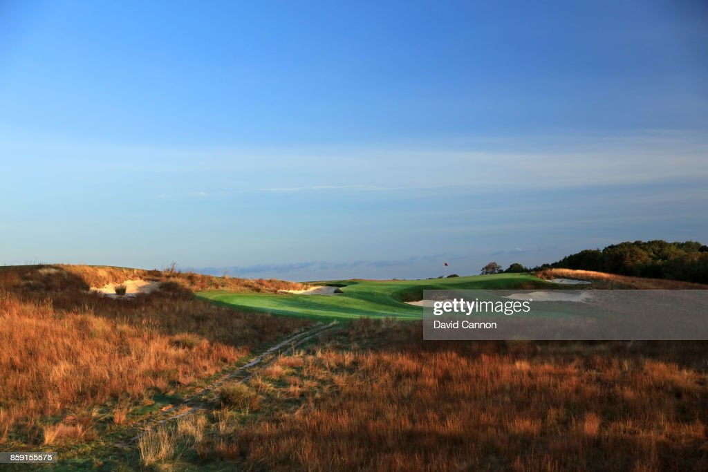 Polarising filter used on the camera in this image; The 159 yards par 3, 11th hole 'Hill Head' at Shinnecock Hills Golf Club the host venue for the 2018 US Open Championship on October 4, 2017 in Southampton, New York.