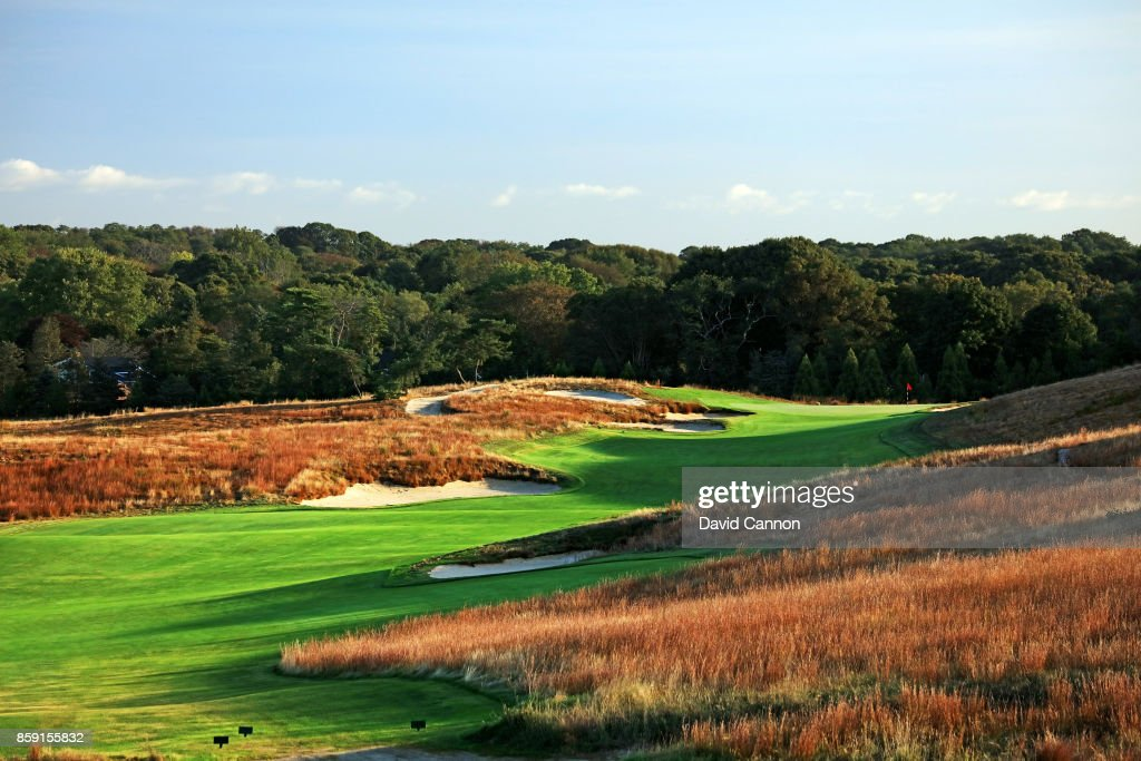 Polarising filter used on the camera in this image; The 519 yards par 4, 14th hole 'Thoms Elbow' at Shinnecock Hills Golf Club the host venue for the 2018 US Open Championship on October 4, 2017 in Southampton, New York.