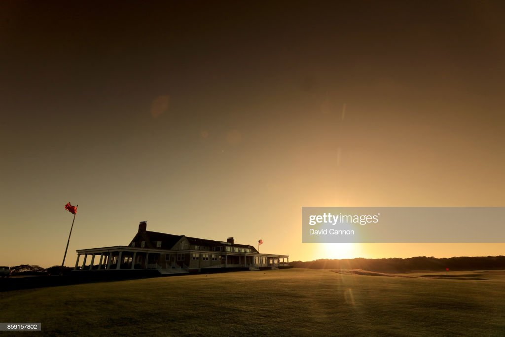 Polarising filter used on the camera in this image; The clubhouse at sunset at Shinnecock Hills Golf Club the host venue for the 2018 US Open Championship on October 4, 2017 in Southampton, New York.
