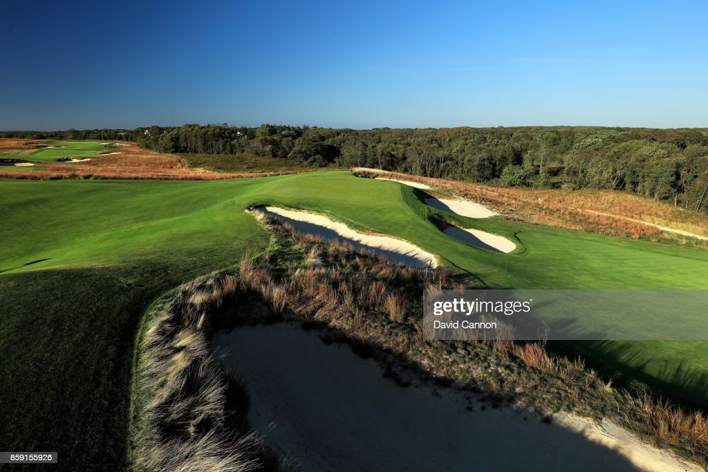Polarising filter used on the camera in this image; The green on the 159 yards par 3, 11th hole 'Hill Head' at Shinnecock Hills Golf Club the host venue for the 2018 US Open Championship on October 4, 2017 in Southampton, New York.