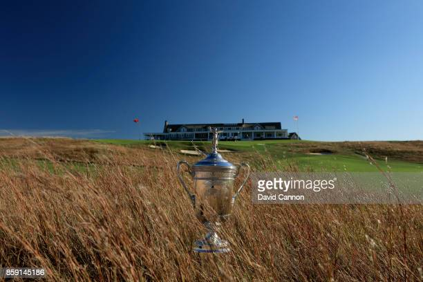 Polarising filter used on the camera in this image The United States Open trophy placed in the long grass beside the 18th hole at Shinnecock Hills...