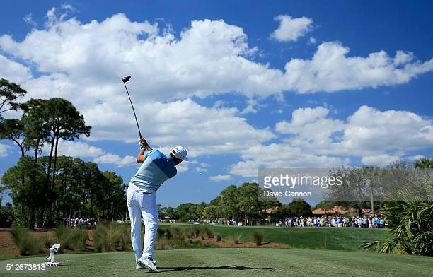 Polarising filter used on this image Rickie Fowler of the United States plays his tee shot on the par 4 second hole during the third round of the...