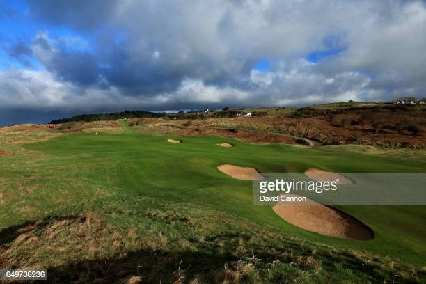 Polarising filter was used in this image: The new green on the 577 yards par 5, second hole on the Dunluce Course at Royal Portrush Golf Club the...