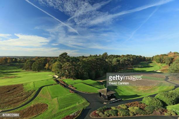 A polarising filter was used on camera in this image A view from the clubhouse of the 390 yards par 4 18th hole to the extreme left of the image with...