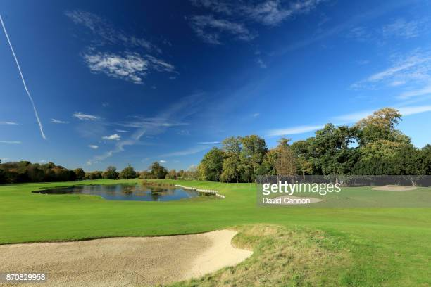 A polarising filter was used on camera in this image A view from the right side of the 378 yards par 4 eighth hole at The Buckinghamshire Golf Club...