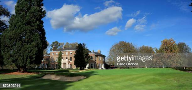 A polarising filter was used on camera in this image The 175 yards par 3 ninth hole at The Buckinghamshire Golf Club on October 25 2017 in Uxbridge...