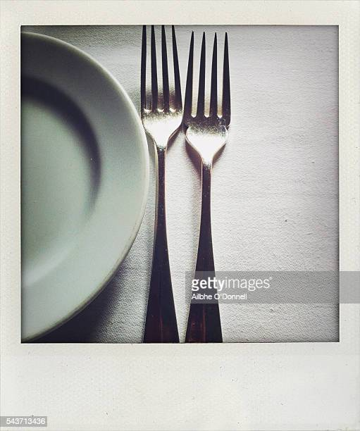 Polaroid forks and plate