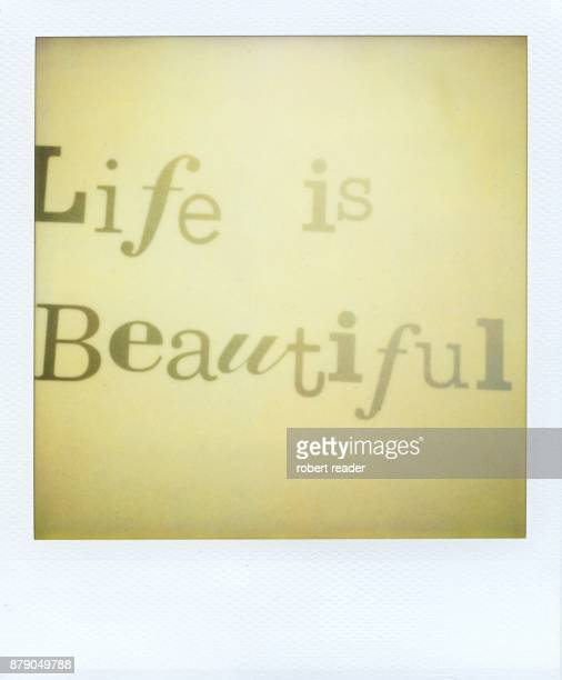 Polaroid photograph of text life is beautiful