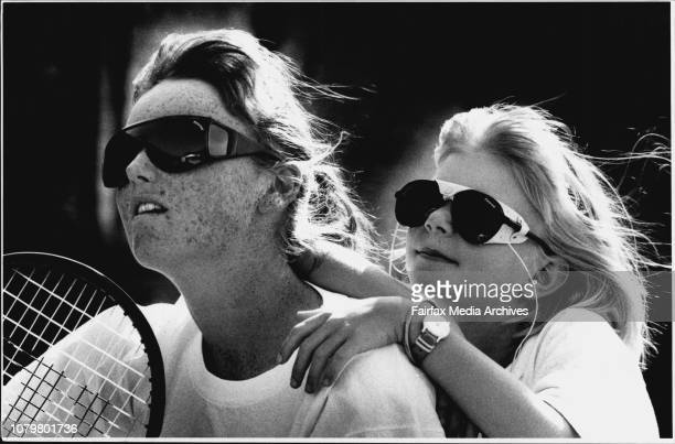 Polaroid sun glasses as worn by Tennis player Kirrily Sharpe and Tennis player of the future 8 year old Annika Peel from GordonKirrily Sharpe left...
