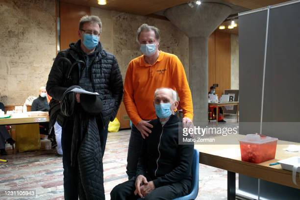 Polde Balazic, a member of Civil Protection, poses for a portrait with his old friends who attended the vaccination with him on February 11, 2021 in...