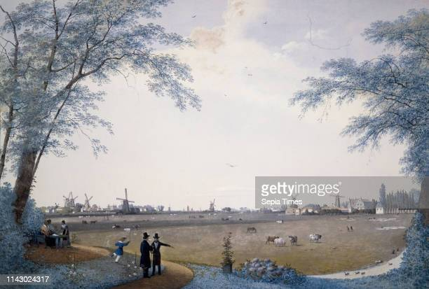 Polder landscape in Hillegersberg, in the background many windmills and ships, landscape watercolor painting visual material paper watercolor wood,...