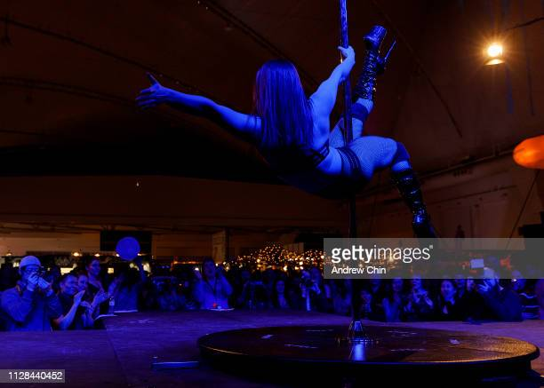 A pole dancer performs on stage at The Naughty But Nice Show at Vancouver Convention Centre on February 08 2019 in Vancouver Canada