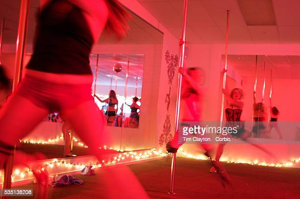 Pole dancers pole dancing during the Queenstown Pole Studios end of year show at the Queenstown Pole Studio Gorge Road Queenstown South Island New...