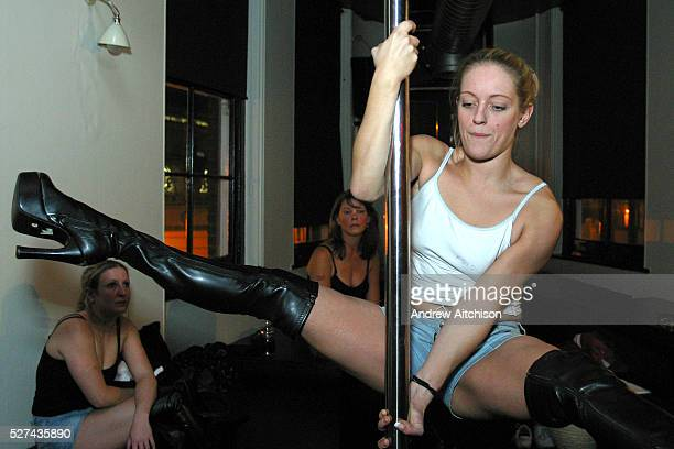 A pole dancing for exercise class held at a central London pub