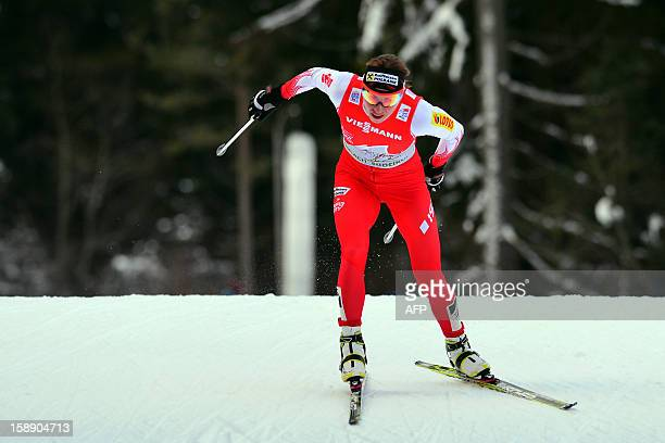 Pole Justyna Kowalczyk competes during the women's Tour de Ski Stage four 15km free pursuit in Toblach on January 3 2013 Kowalczyk won ahead of...
