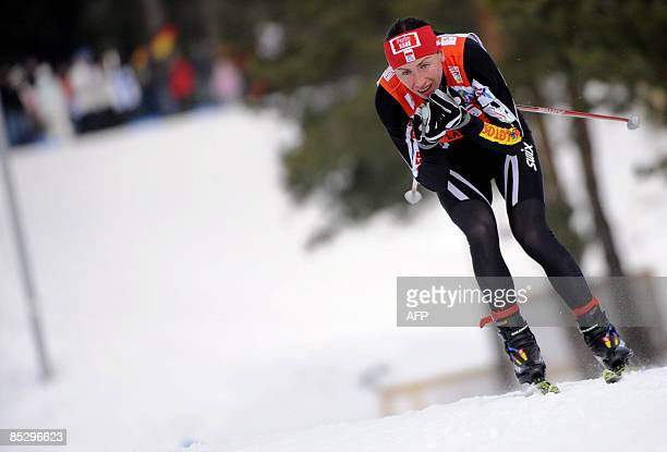 Pole Justyna Kowalczyk skis in the women's 10km freestyle FIS nordic ski World Cup in Lahti on March 8 2009 Kowalczyk won ahead of Swede Charlotte...