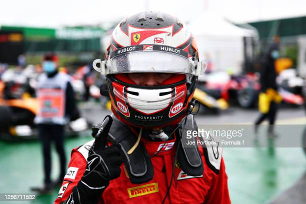 Pole position qualifier Callum Ilott of Great Britain and UNIVirtuosi Racing celebrates during qualifying for the Formula 2 Championship at...