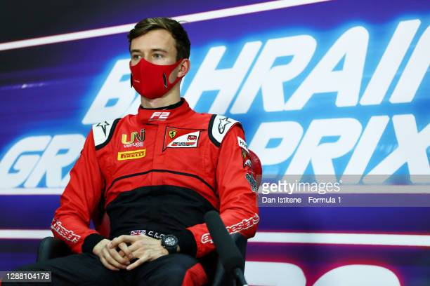 Pole position qualifier Callum Ilott of Great Britain and UNI-Virtuosi Racing talks in a press conference after qualifying ahead of Round 11:Sakhir...