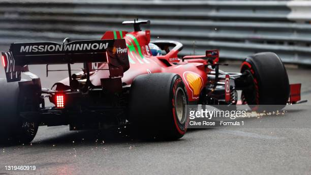 Pole position qualifier Charles Leclerc of Monaco and Ferrari crashes during qualifying for the F1 Grand Prix of Monaco at Circuit de Monaco on May...