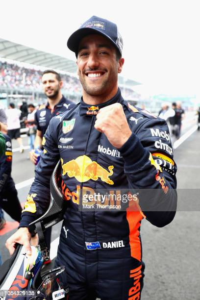 Pole position qualifier Daniel Ricciardo of Australia and Red Bull Racing celebrates in parc ferme during qualifying for the Formula One Grand Prix...