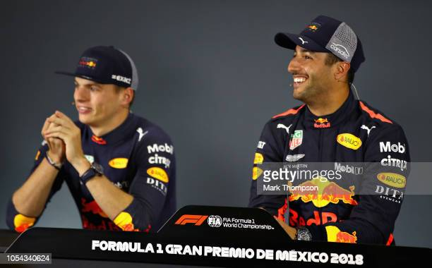 Pole position qualifier Daniel Ricciardo of Australia and Red Bull Racing and second place qualifier Max Verstappen of Netherlands and Red Bull...
