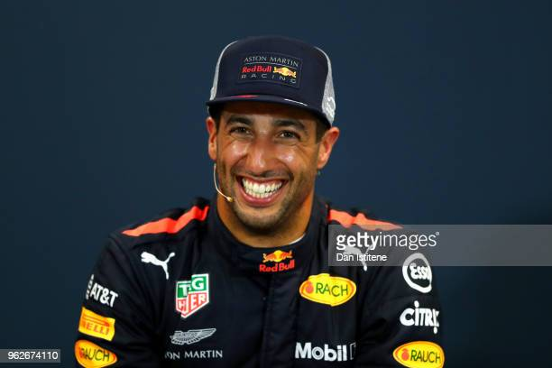 Pole position qualifier Daniel Ricciardo of Australia and Red Bull Racing smiles in the press conference after qualifying for the Monaco Formula One...