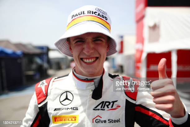 Pole position qualifier Frederik Vesti of Denmark and ART Grand Prix celebrates in parc ferme during qualifying ahead of Round 2:Le Castellet of the...