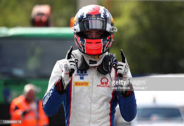 Pole position qualifier Jack Doohan of Australia and Trident celebrates in parc ferme during qualifying ahead of Round 5:Spa-Francorchamps of the...