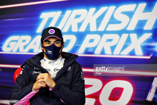 Pole position qualifier Lance Stroll of Canada and Racing Point talks in a press conference after qualifying ahead of the F1 Grand Prix of Turkey at...