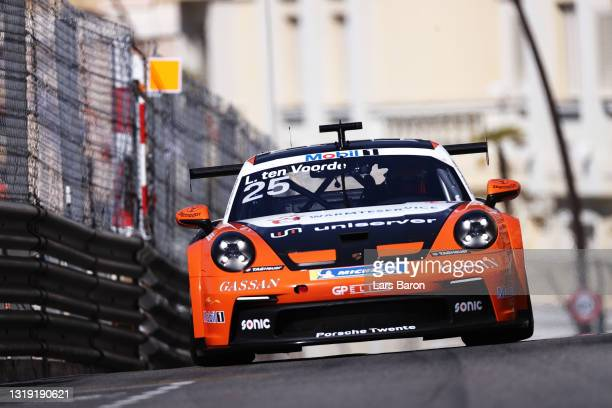 Pole position qualifier Larry Ten Voorde of The Netherlands and Team GP Elite drives during qualifying ahead of the Porsche Mobil 1 Supercup race at...